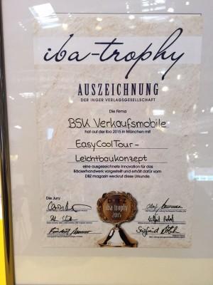 iba tropy 2015 Urkunde als 1. Verkaufsmobil-Hersteller